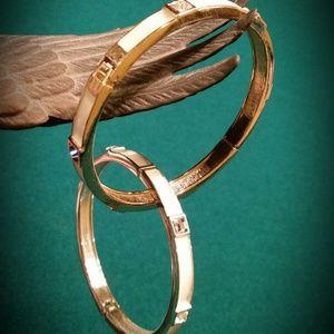 SEQUIN Medium Enamel Hinged Bangle Bracelets